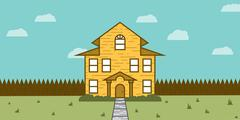 Real Estate For Sale Showing a Yellow House Stock Illustration