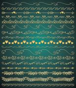 Vector Golden Hand Sketched Seamless Borders, Branches - stock illustration
