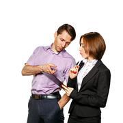 Chief explains the procedure for subordinate work. Stock Photos