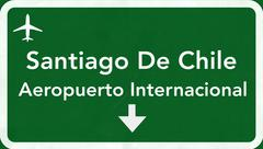 Stock Illustration of Santiago Chile International Airport Highway Sign