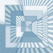 Fantasy futuristic corridor in blue colour - stock illustration