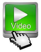 Play video Button with Cursor Stock Photos