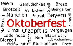 Oktoberfest wordcloud - in german Stock Photos