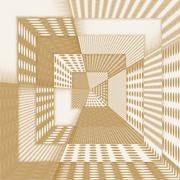 Fantasy abstract tunnel in brown - stock illustration