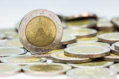Coins of Thailand. Wat Arun Temple in Bangkok, Thailand, depicted in the Thai Stock Photos