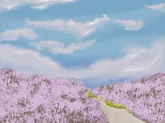 Stock Illustration of Romantic background with lavender meadow