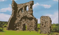 Drawing of old castle ruins with clouds in the azure sky - stock illustration