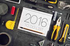 2016, New Year Resolutions Craftsman Workshop Concept Stock Photos