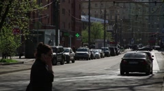 At the crossroads of tram ride . Russia, Moscow Stock Footage