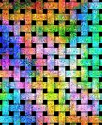 Beautiful weaved colorful texture on black Stock Illustration