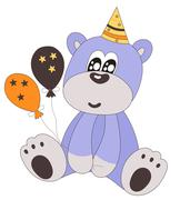 Happy birthday teddy bear with party hat and balloons Stock Illustration