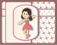 Beautiful card in scrapbooking style with graceful ballerina girl - stock illustration