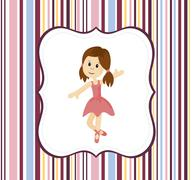 Cute ballerina girl with label frame on a stripey background Stock Illustration