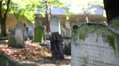 London Graveyard Tombstones Stock Footage