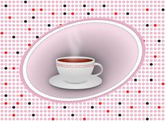 Hot tea cup with saucer on dotted background Stock Illustration