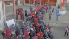 Stock Video Footage of Monks leave festival ground and people pay respect,Lamayuru,Ladakh,India