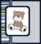 Beautiful card with Teddy bear - stock illustration