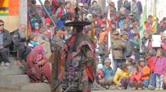 Dancer with hat at masked dance festival,Lamayuru,Ladakh,India Stock Footage