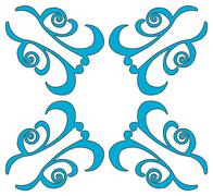 Seamless floral contour pattern in turquoise - stock illustration