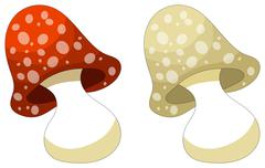 Cute cartoon mushroom - isolated on white Stock Illustration