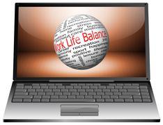 Laptop with Work Life Balance wordcloud Stock Photos
