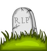 Cartoon tombstone on the grass - stock illustration