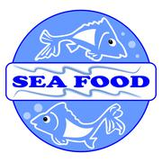 Sea food label or billboard with two cute fish cartoons. Designed in blue cir Stock Illustration