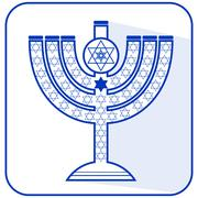 Jewish seven-branched candelabrum menorah with the Star of David, flat design - stock illustration