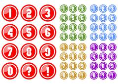 Set of white numbers in circle button includes five color variants, red, gree Stock Illustration