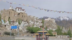 Lamayuru and gompa with prayer flags,Lamayuru,Ladakh,India Stock Footage
