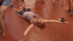 Feast of the tomatina at Spain Stock Footage