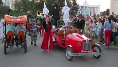 Parade of street performers circus. Stock Footage