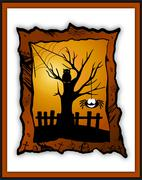Happy Halloween card with smiling spider and an owl sitting on a tree - stock illustration