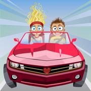 Boy and girl riding in a car at high speed Piirros