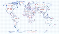 Political map of the world drawn with blue pen - stock illustration