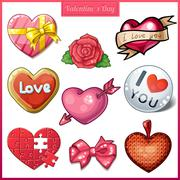 Set of candy hearts icons for Valentines Day Stock Illustration