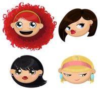 Set of 4 cartoon female heads - stock illustration
