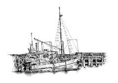 antique boat sea motive drawing handmade - stock illustration