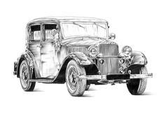 Old classic car retro vintage Stock Illustration