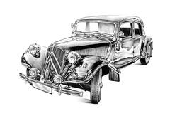 old classic car retro vintage - stock illustration