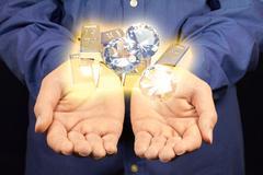 gold and diamonds - stock photo