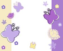Stock Illustration of Pastel background with butterflies in yellow,white and violet