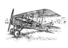 old classic plane isolated white - stock illustration