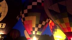 Hot Air Balloons at Night Stock Footage
