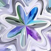 Blue, green and violet abstract bloom shape Stock Illustration