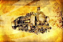 Stock Illustration of old steam locomotive engine retro vintage