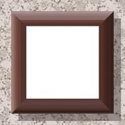 Stock Illustration of Blank wooden frame on patterned wall