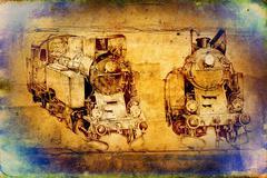 Old steam locomotive engine retro vintage Stock Illustration