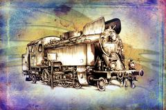 old steam locomotive engine retro vintage - stock illustration
