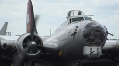 Close Up B-17 WW2 Bomber Starting Engines Stock Footage